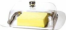 Renberg q1881Tablett Butterdose mit Acryl-Deckel, 19cm, silber