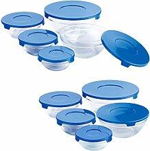 Renberg Q2355 Tupperware-Set, Glas, Blau, 20 x 18