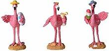 rendaffe Flamingo Dekofiguren mit Sommeroutfit im