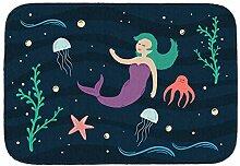 rendaffe - Meerjungfrau Badvorleger mit