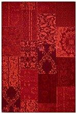 rendiger Teppich Patchwork Optik Flachgewebe rot ca. 240 x 330 cm