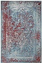 rendiger Teppich Patchwork Optik türkis Flachgewebe ca. 120 x 170 cm