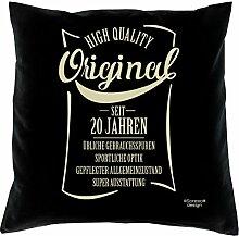 rendiges Sofa Deko-Kopf-Kissen Fun Motiv Original seit 20 Jahren Größe 40x40 cm ideales Geschenk zum Geburtstag Jubiläum Weihnachten Farbe schwarz