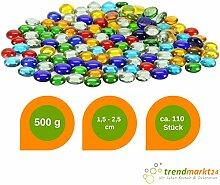 rendmarkt24 Glas-Nuggets 500g Bunt ★ 1,5-2,5 cm