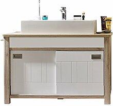 rendteam Badezimmer Waschbeckenunterschrank Unterschrank Seven, 119 x 86 x 46 cm in Korpus Eiche San Remo Hell Dekor, Front Weiß matt inkl. Waschbecken
