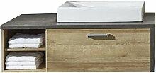 rendteam BY Waschbeckenunterschrank Badezimmerunterschrank | Eiche Riviera honig | Beton dunkel | 123 x 53 cm | Inkl. Waschbecken