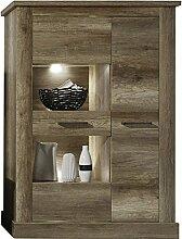 rendteam Wohnzimmer Highboard Schrank Montreal, 106 x 149 x 42 cm in Eiche Monument  Dekor mit viel Stauraum und drei Einlegeböden
