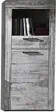 rendteam Wohnzimmer Highboard Schrank River, 66 x 133 x 37 cm in Pine Weiß, Chabby Chic Retro Dekor mit offenen Fach und Griffen im Industrial-Look