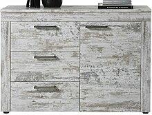 rendteam Wohnzimmer Kommode Schrank River, 124 x 89 x 41 cm in Pine Weiß, Chabby Chic Retro Dekor mit viel Stauraum