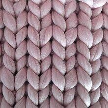 Reneefer HANDMADE | Rosa Decke aus 100% Merinowolle XXL 120 x 180 cm Kuscheldecke Wohndecke Dekoration Wolldecke Skandinavisch Tagesdecke