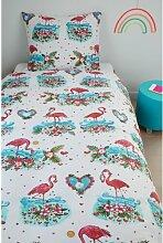 Renforcé Kinderbettwäsche Flamingo Flower