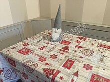 Renna Shabby Weihnachts-Tischdecke für Küche oder Wohnzimmer, mit Herzen und Sternen, Quadratisch, 90x 90cm, hergestellt in Italien
