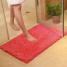 renqinglin Chenille absorbierenden Matten Sanitär Bad WC-Vorleger Badematte Matte Matte, Orange/Rot, 60*90cm