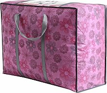 RENQINGLIN Quilt Bag_Neue Hochwertige Dicke Transparente Fenster Quilt Aufbewahrungstasche, Rosa Blüten, 65 * 50 * 30 Cm.