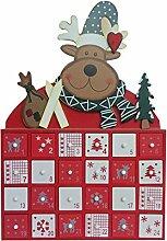Rentier Elk Hölzerner Adventskalender Mit 24
