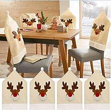Rentier Weihnachten Stuhlhusse (4er Set ) Hirsch Weihnachtstisch Dekoration 50x60cm