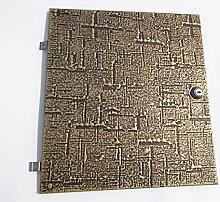RENZ ENTNAHMETÜRE ZU BRIEFKASTEN 14-300 Modell 01-750. L x B 33cm x 30cm Messing Relief