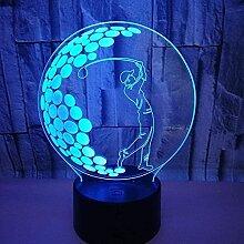 REOOHOUSE Golfing LED-Lampe Bunte Gradient 3D