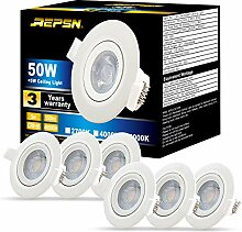 REPSN® 6er LED Einbaustrahler 5W=50W 550lm IP44