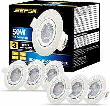 REPSN® 6er x LED Einbaustrahler 5W=50W 550lm