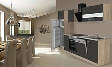 respekta Einbau Küche Küchenzeile 280 cm Eiche Sonoma Sägerau Grau inkl. Kühl- Gefrierkombi Ceran & Geschirrspüler