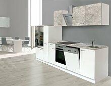 respekta Einbau Küche Küchenzeile Küchenblock 310 cm weiss Beton Optik, inkl. Softclose Cerankochfeld Geschirrspülmaschine, Kühlschrank