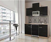respekta KB150ESSMI Single Mini Küche Küchenzeile Küchenblock 150 cm EICHE SÄGERAU SCHWARZ mit Mikrowelle