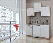 respekta KB150ESW Single Mini Küche Küchenzeile Küchenblock 150 cm EICHE SÄGERAU WEISS mit Einbaukühlschrank, Einbauspüle, Kochmulde
