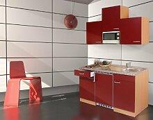 respekta Küchenblock 150 cm Buche Nachbildung rot