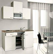 respekta Küchenblock 150 cm weiß weiß Ceran mit