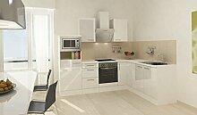 respekta Premium L Küche Einbau Küchenzeile 260 x 200 cm Weiß Hochglanz Ceran