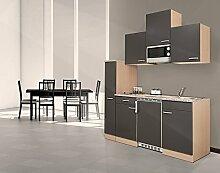 respekta Single Küche Küchenzeile Küchenblock 180 cm Buche grau Mikrowelle Ceran KB180BGMIC