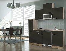 respekta Single Küche Küchenzeile Küchenblock 180 cm Eiche sägerau grau APL Eiche sägerau Nachbildung Mikrowelle Ceran KB180ESGMIC