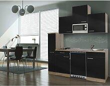 respekta Single Küche Küchenzeile Küchenblock 180 cm Eiche sägerau schwarz APL Eiche sägerau Nachbildung Mikrowelle KB180ESSMI