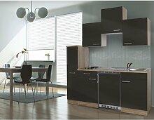 respekta Single Küche Küchenzeile Küchenblock 180 cm Eiche sägerau grau APL Eiche sägerau Nachbildung KB180ESG