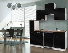 respekta Single Küche Küchenzeile Küchenblock 180 cm weiß schwarz APL Butcher Nussbaum Ceran KB180WSC