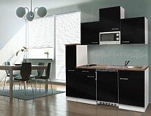 respekta Single Küche Küchenzeile Küchenblock 180 cm weiß schwarz APL Butcher Nussbaum Mikrowelle KB180WSMI