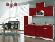 respekta Single Küche Küchenzeile Küchenblock 180 cm weiß rot APL Butcher Nussbaum Mikrowelle Ceran KB180WRMIC