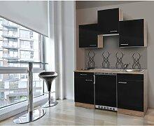 respekta Single Mini Küche Küchenzeile Küchenblock 150 cm Eiche sägerau schwarz APL Eiche sägerau Nachbildung Ceran KB150ESSC