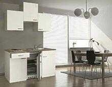respekta Single Mini Küche Küchenzeile Küchenblock 150 cm weiß weiß Ceran mit APL Butcher Nussbaum KB 150 WWC