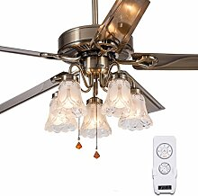 Restaurant Continental Wohnzimmer Deckenventilator Licht Ventilator Lichter Edelstahl Bügeleisens Blatventilator mit LED-Leuchten