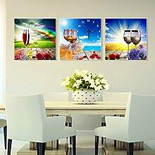 Restaurant Wohnzimmer Uhren Hängende Zeichnungen Frameless Gemälde 3 Küche Esszimmer Wandmalerei Fresko Wanduhren Weinglas ( Farbe : H , größe : 40*40 cm )