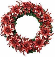 Restbuy Weihnachten Dekoration Kränze mit Blumen Türkranz Adventskranz Weihnachtskranz Tannenkranz Dekoration Ø40cm