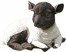 Resting Lamb Suffolk Schaf Kunstharz Garten Statue