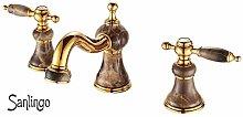 Retro 3Loch Armatur Waschbecken Waschtisch Gold Marmor Sanlingo