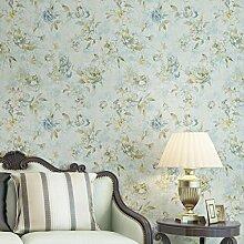 Retro Amerikanische Ländliche Landschaft Große Blume Vliestapete Schlafzimmer Sofa Im Wohnzimmer TV Kulisse Tapete,Blue