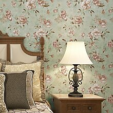 Retro Amerikanische Ländliche Landschaft Große Blume Vliestapete Schlafzimmer Sofa Im Wohnzimmer TV Kulisse Tapete,Green
