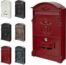 Retro Antik Nostalgie Vintage Briefkasten Postkasten Wandbriefkasten 6 Farben V2Aox, Farbe:Ro