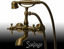 Retro Bad Badewanne Kreuzgriff Armatur mit Duschkopf Bronze RESA Sanlingo