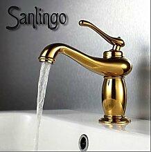 Retro Bad Waschbecken Einhebel Armatur Gold Sanlingo